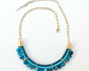 Turquoise&blue colors Agate Necklace by Pardes