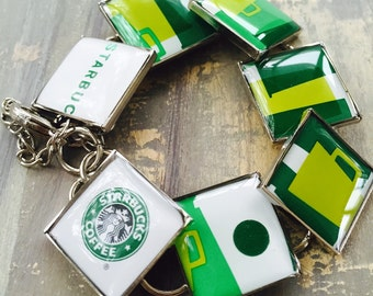 Recycled Gift card, Resin Jewelry, Starbucks Bracelet, Coffee Cup