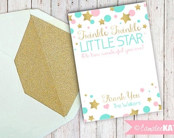 Printable Thank You notes - Twinkle Twinkle Little Star - Baby Shower Thank You note 5x7 - Personalized