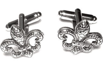Silver Fleur De Lis Cufflinks, Men's Handcrafted Textured French Heraldry Cuff Links- Royal Gift fpt Man Groom Wedding Prom