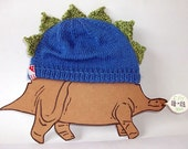 Cute Toddler Dinosaur Hat in Blue, 1 year Upwards - Ready to Ship