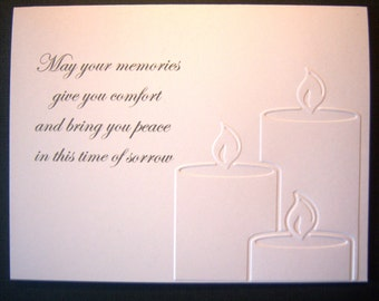 Embossed Three Peaceful Candles Sympathy Card