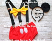 Mickey Mouse Birthday outfit cake smash ears Suspenders diaper Cover yellow bowtie clubhouse baby costume 9 12 18 24 toddler Free Shipping