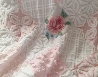 Vintage Chenille 'Pretty in Pink' ~ Baby Girl Chenille Quilt in Pink and White ~ Adorable