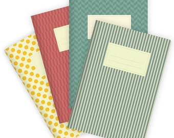 Set of 4 Notebooks Stapled A5 Colorful Patterns