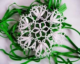Tatting Lace doily white - handmade doily - Home decor - Housewarming gift - lace doily - gift for wife-wedding Lace Coasters-OOAK-viktorian