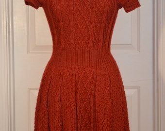 Handknitted sz 4-5 Ruffled Sweater-Dress Reddish-Brown-Rust