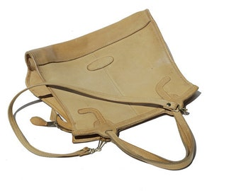 Satin Gold Tan Leather Shoulder Bag
