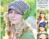 50% OFF SALE Crochet Hat Pattern, Crochet Pattern, Ribbed Newsboy Hat Pattern 014