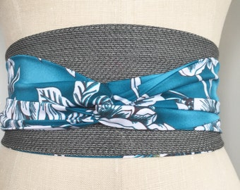 Tropical print oni belt, teal aqua flower obi sash, gray suiting fabric belt, print obi belt, reversible obi, waist cincher obi