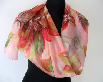 Pink hand painted scarf. Floral silk scarf. Red, green, pink flowers. Multicolor scarf. Art silk scarf.