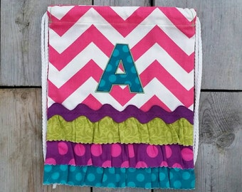 """SALE! Toddler Size PINK Chevron Drawstring Backpack with """"A"""" Monogram - Ready to ship"""
