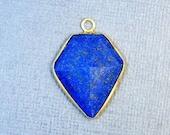 12% off Wholesale Lapis Lazuli Shield Pendant- Gold over Sterling Silver Bezel Charm Pendant (S39B4b-05)