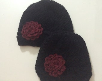 Mom and Daughter Beanie Hat Set With Flower