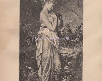 15% OFF Psyche & Her Urn-Nymph-Cupid-Love-Greek Mythology-Divine-Desire-Suffering-Death-Erotic-Spiritual-1882 Antique Vintage Art Print-Goth