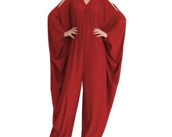 Oversized wide leg jumpsuit/ Multi way jumpsuit/ Harem Jumpsuit/ Plus size jumpsuit/ Women jumper/ Dark Red romper / Red overall RIVIERA