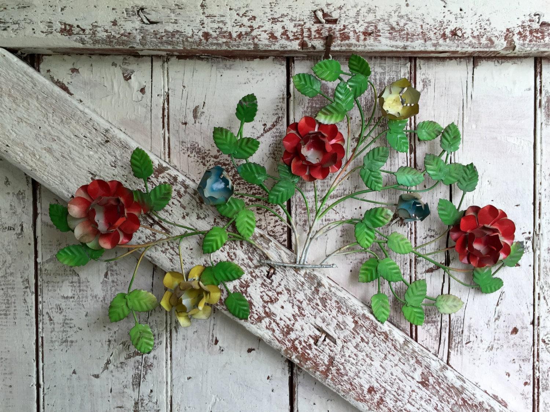 Floral metal wall art Metal Tin Flowers Metal Sculpture Mid