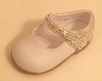 Toddler Rhinestone Shoes Swarovski Crystal Toddler Shoes Toddler Wedding Shoes Toddler Leather Shoes Flower Girl Shoes size 3-10 available