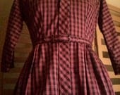 NOS MODE O' DAY 50s purple and black Plaid day dress Swing M