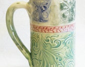 Stoneware 20oz. butterfly ceramic mug 20B053