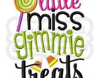 Little Miss gimmie treats - Halloween Applique Shirt - Girl's Halloween Shirt - Holiday Designs - Monogrammed Shirt