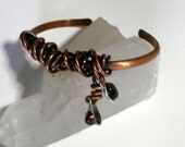 Rustic Wrapped Copper Cuff with stones  - Women  Girls  Boho