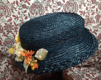 Dark Blue Straw Hat with Decorative Edge - 1860s Civil War Era Straw Hat -  by Anna Worden Bauersmith