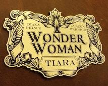 WONDER WOMAN TIARA Display Placard ForYour Cosplay Prop