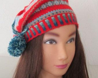 Beret Tam Hat Hand Knit Fairisle Vintage 1920s Style Downton Abbey Handmade Fairisle