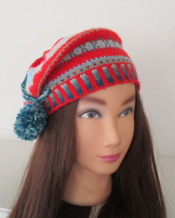 Beret Tam Hat Hand Knit Fairisle Vintage 1920s Style by ...