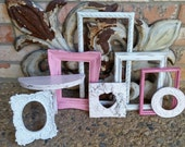 Pink Baby Girl Nursery Decor, Shabby Ornate Vintage Frames, Rock-A-Bye-Baby, Upcycled, Painted Frames, Wall Shelf Ledge