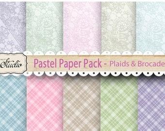 Pastel Scrapbook Paper, Pastel Plaid, Pastel Brocade, Lace, Spring Papers, Digital collage, Scrapbook Paper, Cards, Printable Paper