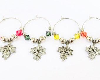 Maple Leaf Wine Charms Swarovski Crystal beads with bag