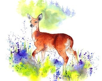 "Giclee Fine Art Print: ""Deer in the Bluebells"" Watercolour Painting"