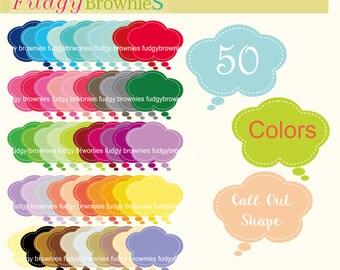 ON SALE Speech Bubble Clip art ,cloud call out clip art, 50 colors label clip art.L-30 ,Thought Cloud clip art
