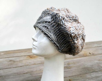 artisan Slouchy big Grey beret, winter knit hat, chunky woman hand knited wearable art soft knit with wool felt unique design art to wear 14
