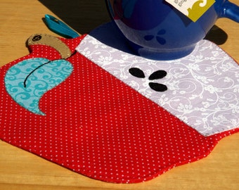 Apple Mug Rug - Red with Micro Dots