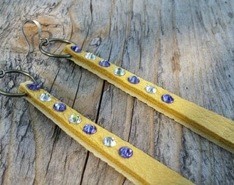 Purple and Gold Leather Earrings | Leather Earrings | Gold Earrings |Tanzanite Earrings|Crystal Earrings|Sparkle Earrings|Swarovski Earrings