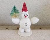 1950's Christmas Decoration - Snowman Made in Austria - Paper Mâché - Mid Century Retro Holiday Figurine