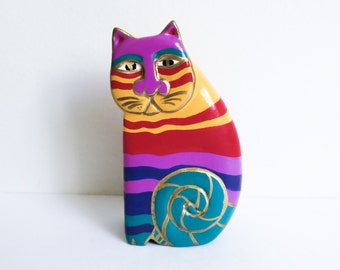 Vintage Multicolor Striped Cat Figurine - Carved Wood Folk Art Cat - Stylized Abstract Cat - Primitive Tribal Decor - Child's Room Decor