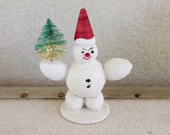1950's Snowman with Red Santa Hat - Paper Mâché Snowman Figurine - Made in Austria - Mid Century Retro Christmas Decoration
