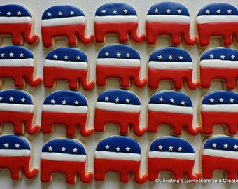 Republican Elephant Political Decorated Sugar Cookies (#2578)