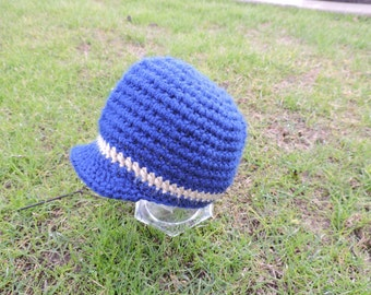 New Baby, 3-6 months, Crochet Baby Boy Pageboy Hat, Great Prop or Gift