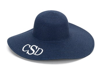 Navy Floppy Hat - Monogram Floppy Hat - Floppy Sun Hat - Women's Hat - Summer Hat - Personalized Hat - Initials Summer Hat - Beach Hat