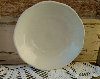 Antique Ironstone Cereal or Soup Bowl by Hall - Farmhouse White China Pottery Bowl Dish With Scalloped Edges, Mismatched Dish + Serving Ware