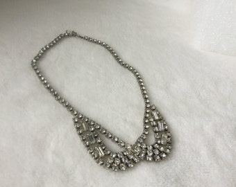 Necklace, Vintage Rhinestone Necklace, Mid Century Rhinestone Necklace