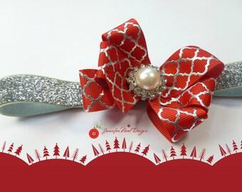 Baby Christmas Headband,  Christmas headband newborn, Christmas bow, baby's first Christmas Photo Prop, red and silver bow