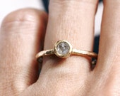 Rose cut diamond engagement ring. Grey stone. Sprout.