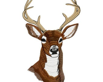 Large Deer Head Machine Embroidery Design - Instant Download