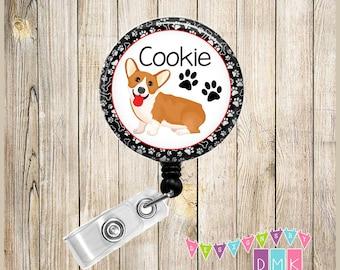 Corgi - Personalized - Paw Prints - Button Badge Reel - Retractable ID Holder - Alligator or Slide Clip - Unique Pet Lover Gift